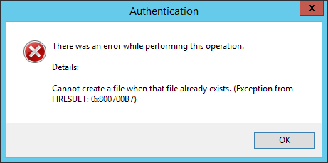screenshot of error